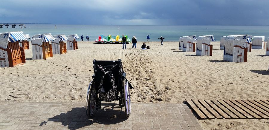 Holiday Injury - wheelchair on beach