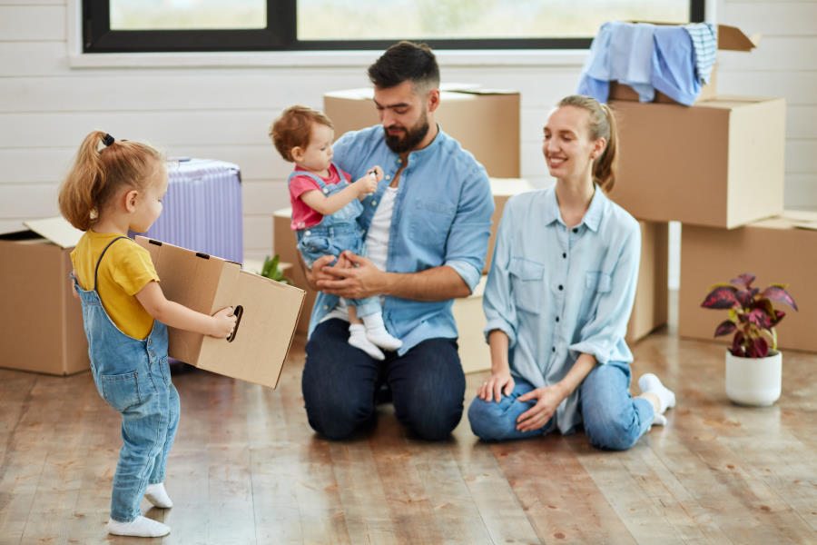 Image of Family Packing Up after Selling a Home for Plymouth Conveyancing Solicitors