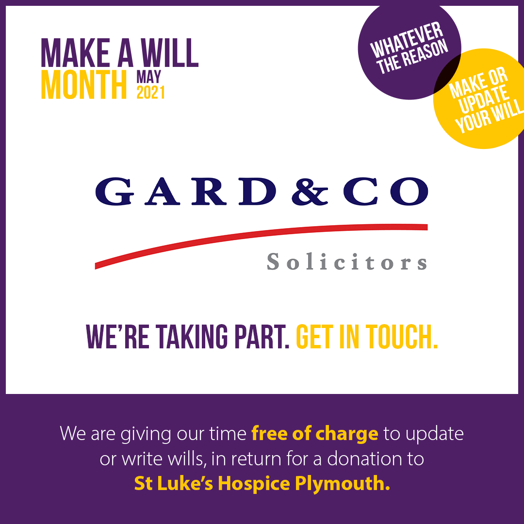 St Luke's Make a Will Month 2021 image for Plymouth Wills Solicitor